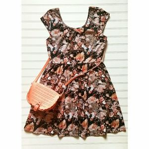 Xhilaration Floral•Paint Splatter• Skater Dress